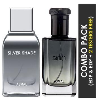 Ajmal   Ajmal Silver Shade EDP Citrus Woody Perfume 100ml for Men and Carbon EDP Citrus Spicy Perfume 100ml for Men + 2 Parfum Testers FREE