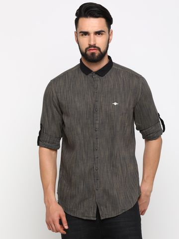 With | With Men's Brown Linen Printed SlimFit Shirt