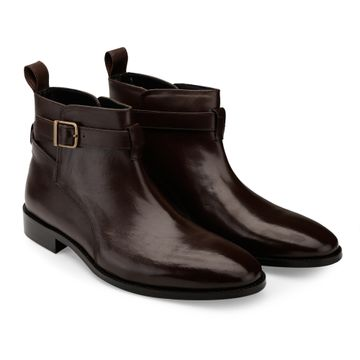 Hats Off Accessories | Hats Off Accessories Genuine Leather Brown Buckle Ankle Boots