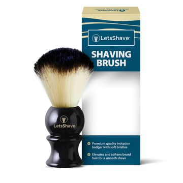 LetsShave | LetsShave Imitation Badger Shaving Brush - Hand Made, Soft Hair - Glossy Black Handle