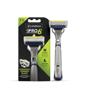 LetsShave | LetsShave Pro 6 Plus Shaving Razor for Men - Pro 6 Plus Blade + Razor Handle