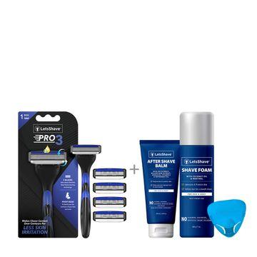 LetsShave   LetsShave Pro 3 Razor Value Kit for Men - Pack of 4 Pro 3 Blades + Razor Handle + Razor Cap + Shave Foam - 200 gm + After Shave Balm