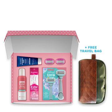 LetsShave | LetsShave Evior 6 Combo Gift Set for Women - Razor Handle + Pack of 2 Evior 6 Blades + Pack of 3 Evior Face Hair Removal Razor + Shaving Foam 150 gm + Travel Bag