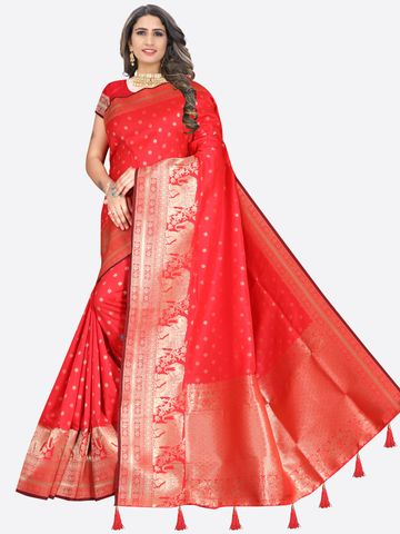 Glemora | Glemora Saree for Women Banarasi Silk With Blouse, Women Silk Sarees ( Red )