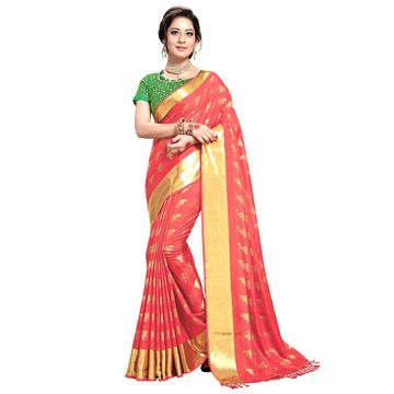 SATIMA | WOMEN'S PEACH SELF DESIGN PRINTED GEORGETTE SAREE