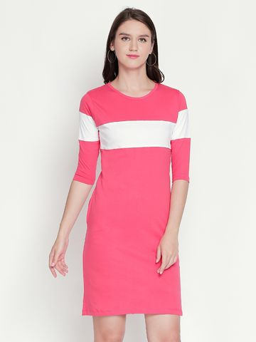Jhankhi | Pink Colourblocked Shift Dress