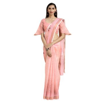 SATIMA | Satima PeachCotton BlendFloral Digital Print Saree
