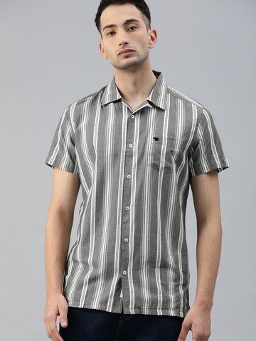 The Bear House   Men's Striped Bowling Collar Shirt