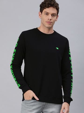 The Bear House | Men Black Printed Sweatshirt