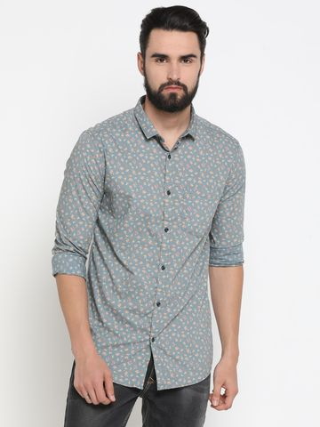 Showoff | Green Showoff Mens Cotton Printed  Slim Casual Shirts