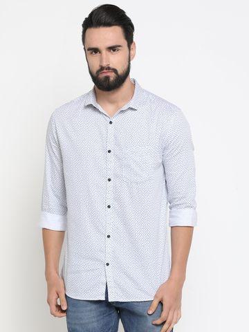 Showoff   White Showoff Mens Cotton Printed  Slim Casual Shirts