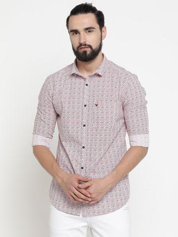 Showoff | Brown Showoff Mens Cotton Printed  Slim Casual Shirts