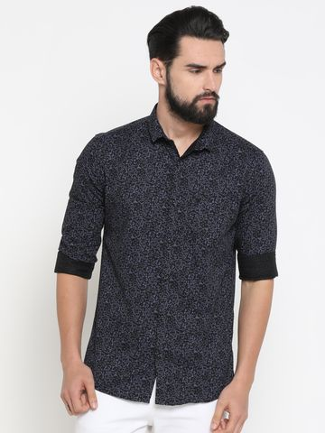 Showoff   Brown Showoff Mens Cotton Printed  Slim Casual Shirts