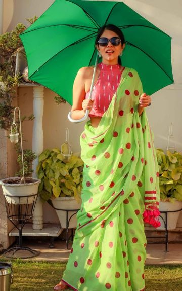 SATIMA | Satima Woman'S Green Linen  Printed  Saree