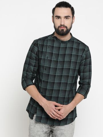Showoff | Green Showoff Men's Cotton Checked Slim Casual Kurtas