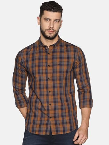 Showoff   SHOWOFF Men's Cotton Casual Khaki Printed Slim Fit Shirt