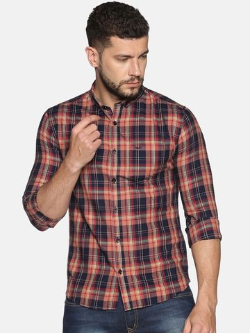 Showoff | SHOWOFF Men's Cotton Casual Orange Printed Slim Fit Shirt