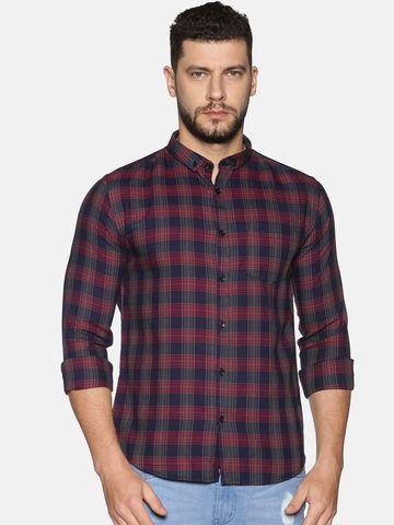 Showoff   SHOWOFF Men's Cotton Casual Maroon Printed Slim Fit Shirt