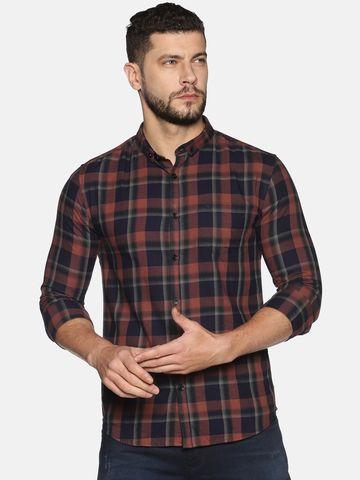 Showoff | SHOWOFF Men's Cotton Casual Brown Printed Slim Fit Shirt