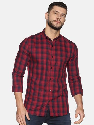 Showoff | SHOWOFF Men's Cotton Casual Red Printed Slim Fit Shirt