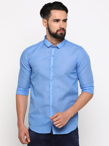 With | With Men's Blue Cotton Solid SlimFit Shirt
