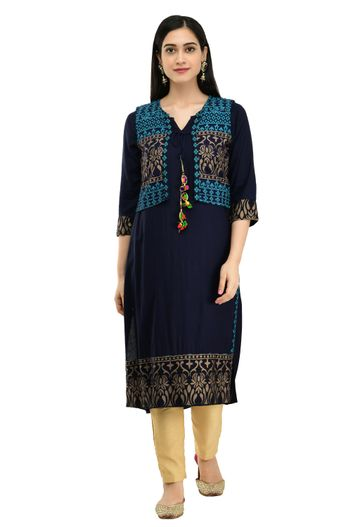 GAYRAA | Printed calf length Kurta with ethnic jacket