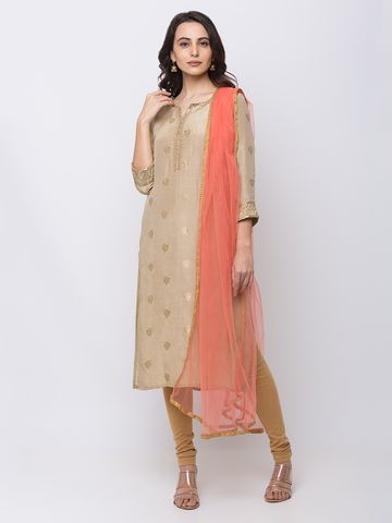 Ethnicity | Ethnicity Net Straight Women Dust Pink Dupatta