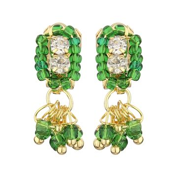 FirstBlush | FirstBlush Clip On Earrings for Non Piearced Ears for Women & Girls; Plating: Gold; Color: Green; Size: 20 X 8mm; Wt.: 2gm. (MIEC104M115)