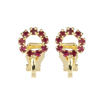 FirstBlush | FirstBlush Clip On Earrings for Non Piearced Ears for Women & Girls; Plating: Gold; Color: Magenta (Pink); Size: 10 X 10mm; Wt.: 3gm. (MIEC104M131)