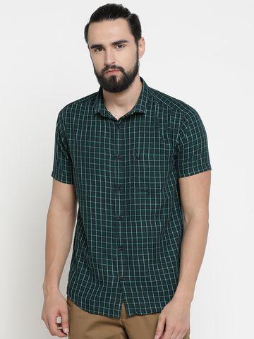 Showoff | Green Showoff Mens Cotton Checked  Slim Casual Shirts
