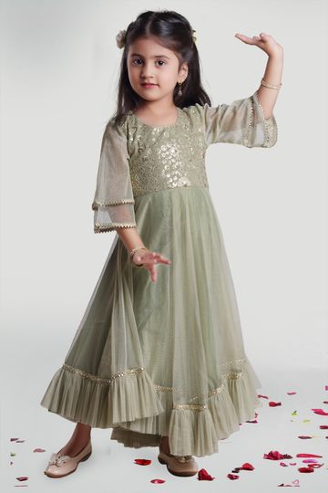 MINI CHIC | Pastel Olive Summer Gown for Girls