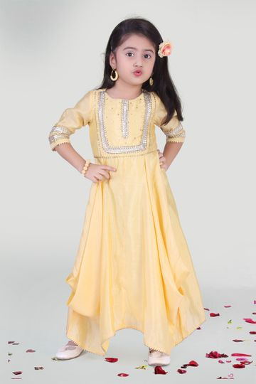 MINI CHIC | Pastel Yellow Cowl Gown for Girls