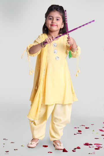 MINI CHIC | Kids Cowl pant and Kurta Set with Dupatta