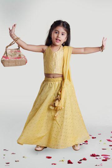 MINI CHIC | Girls Yellow Chanderi Skirt and Choli Set with Dupatta