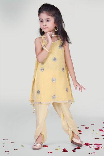 MINI CHIC | Pastel Yellow Dhoti with kurta and dupatta for kids