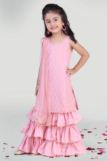 MINI CHIC | Pastel Pink Sharara and Kurti Set for Girls with Dupatta