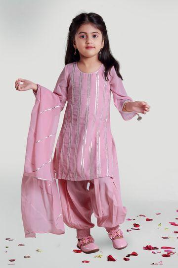 MINI CHIC | Pastel Pink Harem and Kurta Set with Dupatta for Girls