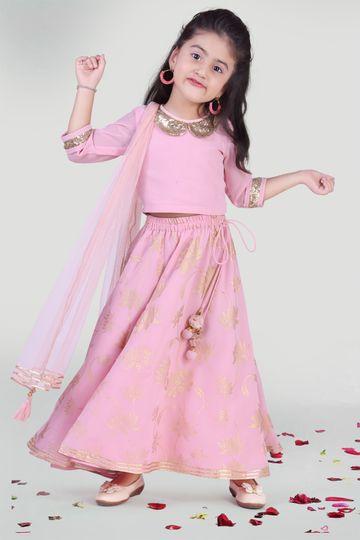 MINI CHIC | Girl's Pastel Pink Skirt and Choli Set with Dupatta