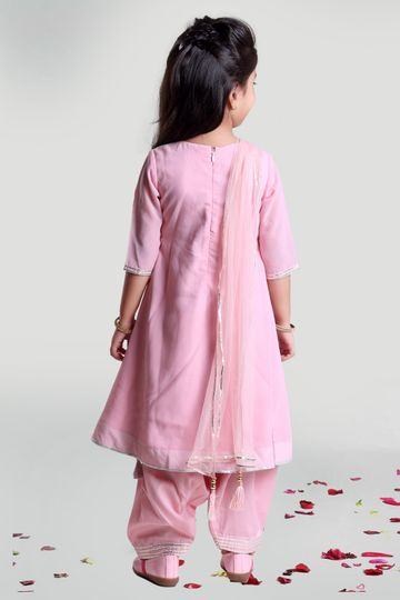 MINI CHIC | Pastel Pink Patiala Set for Girls with Kurta and Dupatta