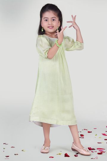 MINI CHIC | Pastel Green Summer Party Dress for Girls