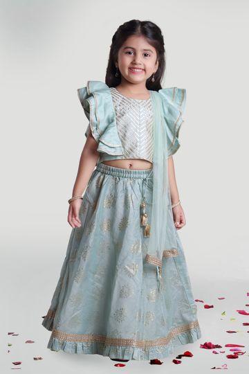 MINI CHIC | Sea green Skirt and Choli Set with Dupatta