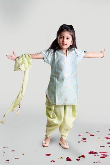 MINI CHIC | Green Cowl pants and Kurta Set with Dupatta for Girls