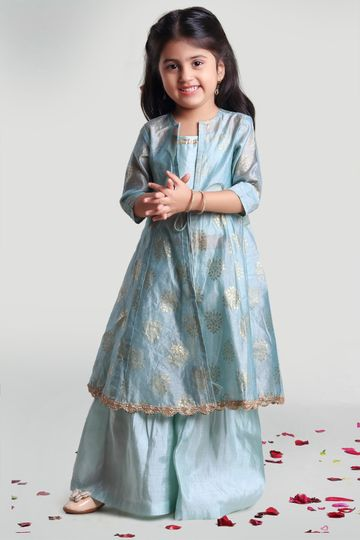 MINI CHIC | Sea Green Jacket and Sharara Set with Inner for Girls