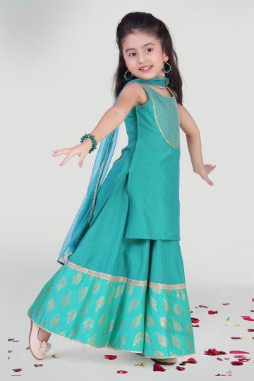 MINI CHIC | Aqua Green Kali Skirt and Kurta Set with Dupatta for Girls