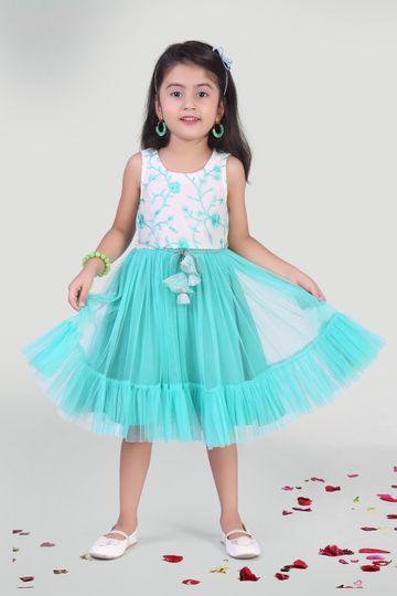 MINI CHIC | Girl's Aqua Party Dress
