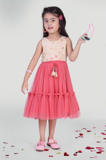 MINI CHIC   White and coral net party dress for Girls