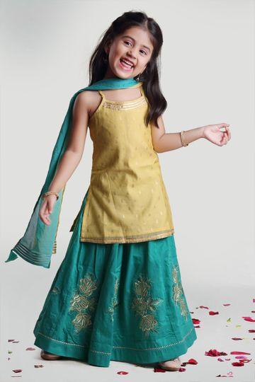 MINI CHIC | Girls Aqua green skirt with short kurti and dupatta