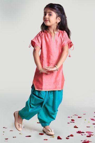 MINI CHIC   Cowl pants and Kurta Set for Girls