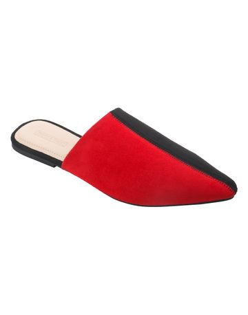 Trends & Trades | Women Red Colourblocked Synthetic Suede Mules