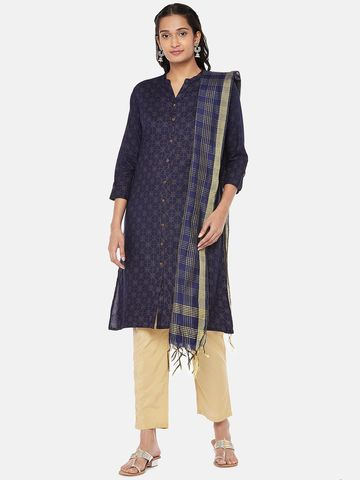 Ethnicity | Silk Blend  Straight Women Navy Dupatta